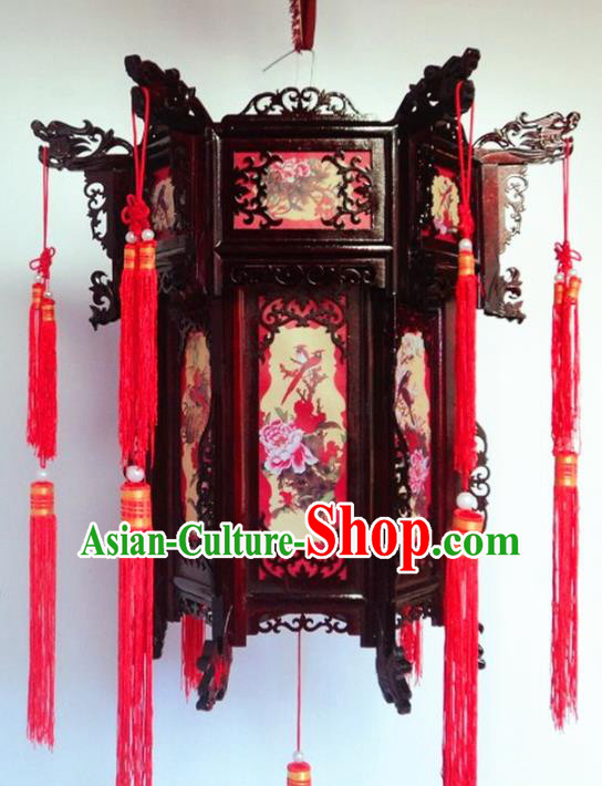 Chinese Traditional Handmade Printing Peony Birds Carving Rosewood Palace Lantern Asian New Year Lantern Ancient Lamp