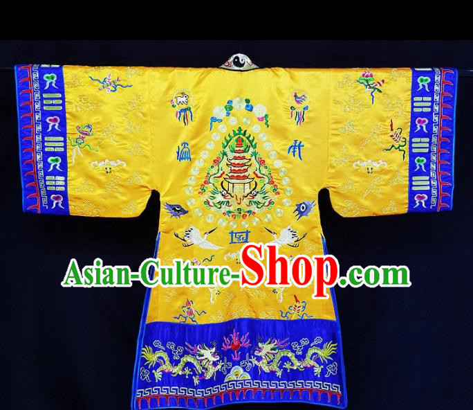 Chinese Ancient Taoist Priest Embroidered Cranes Golden Cassocks Traditional Taoism Vestment Costume