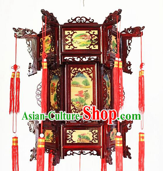 Chinese Traditional Handmade Printing Carving Rosewood Palace Lantern Asian New Year Lantern Ancient Lamp