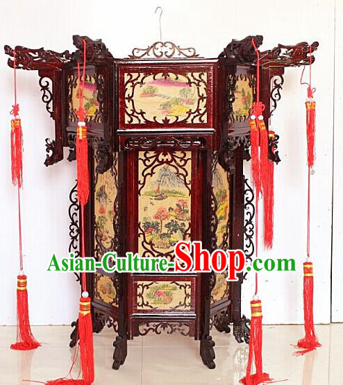 Chinese Traditional Handmade Printing Landscape Carving Rosewood Palace Lantern Asian New Year Lantern Ancient Lamp