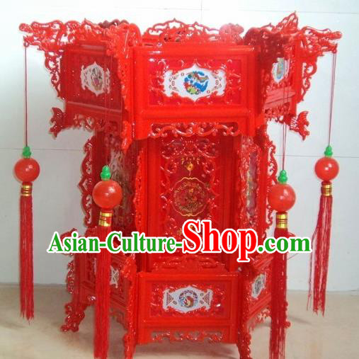 Chinese Traditional Handmade Carving Red Palace Lantern Asian New Year Lantern Ancient Ceiling Lamp