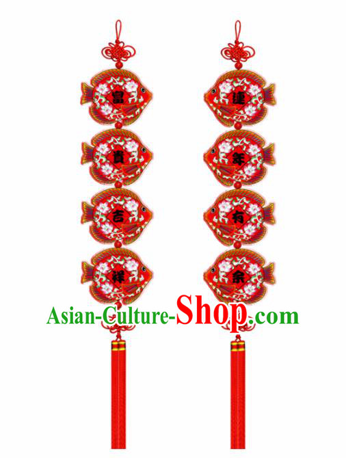 Chinese New Year Decoration Supplies China Traditional Spring Festival Wood Fish Pendant Items
