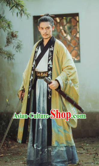 Traditional Chinese Han Dynasty Royal Prince Hanfu Clothing Ancient Swordsman Historical Costumes for Men
