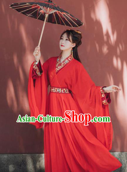 Traditional Chinese Qin Dynasty Palace Lady Red Hanfu Dress Ancient Royal Princess Historical Costumes for Women