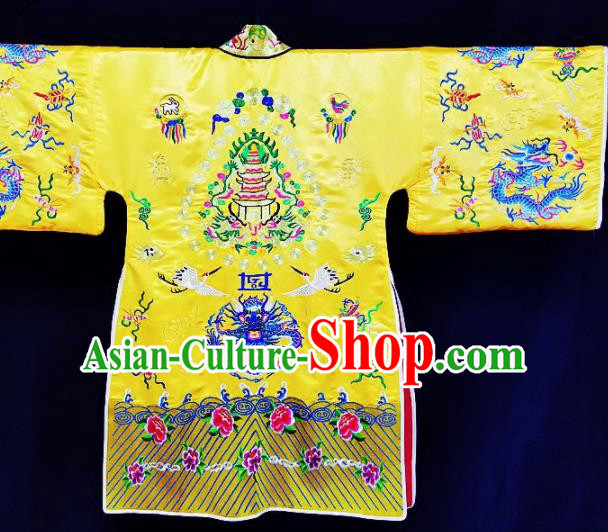 Chinese Ancient Taoist Priest Embroidered Crane Peony Yellow Cassocks Traditional Taoism Vestment Costume