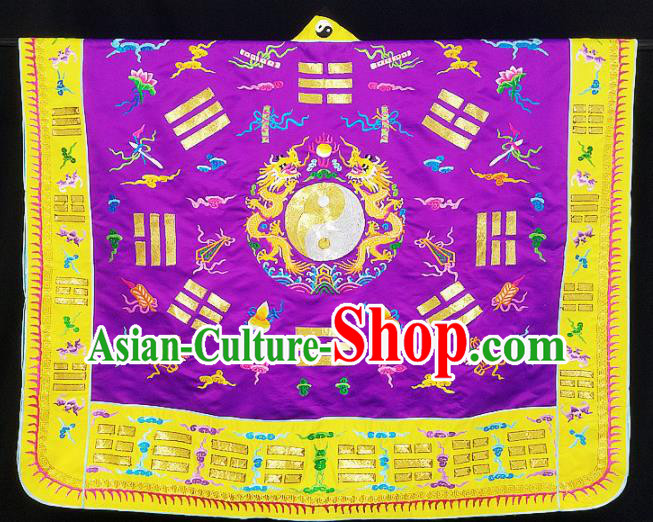Chinese Ancient Taoist Priest Embroidered Tai Chi Dragon Purple Cassocks Traditional Taoism Vestment Costume