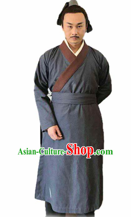 Chinese Traditional Han Dynasty Civilian Costume Ancient Farmer Grey Clothing for Men