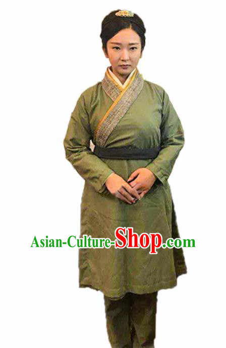 Chinese Traditional Han Dynasty Female Civilian Green Costume Ancient Farmwife Clothing for Women