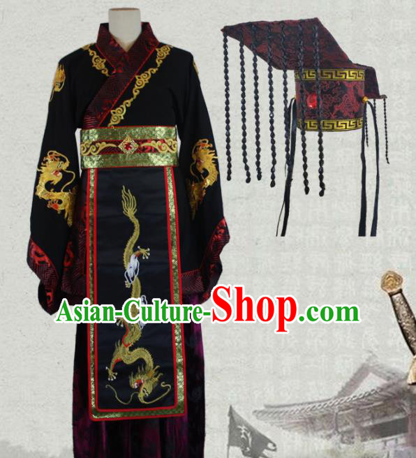 Chinese Traditional Qin Dynasty Emperor Costume Ancient Monarch Clothing and Hat for Men