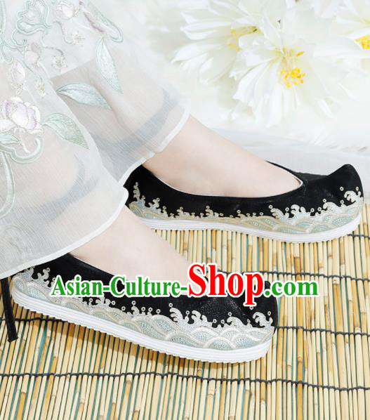 Chinese National Embroidered Waves Black Shoes Ancient Traditional Princess Shoes Hanfu Shoes for Women