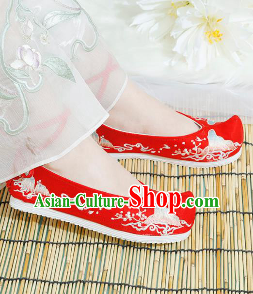 Chinese National Embroidered Red Shoes Ancient Traditional Princess Shoes Hanfu Shoes for Women