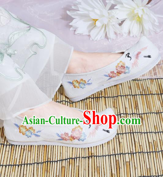 Chinese National Embroidered Crane White Shoes Ancient Traditional Princess Shoes Hanfu Shoes for Women