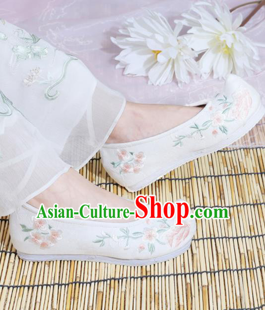 Chinese National Embroidered Peach Blossom White Shoes Ancient Traditional Princess Shoes Hanfu Shoes for Women