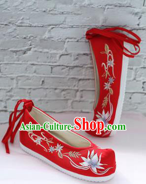 Chinese National Embroidered Lotus Red Shoes Ancient Traditional Princess Shoes Wedding Hanfu Shoes for Women