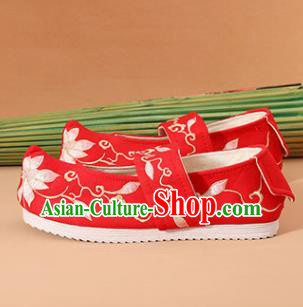 Chinese National Wedding Embroidered Red Shoes Ancient Traditional Princess Shoes Hanfu Shoes for Women