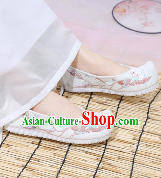 Traditional Chinese National Embroidered Phoenix White Shoes Ancient Princess Shoes Handmade Hanfu Shoes for Women