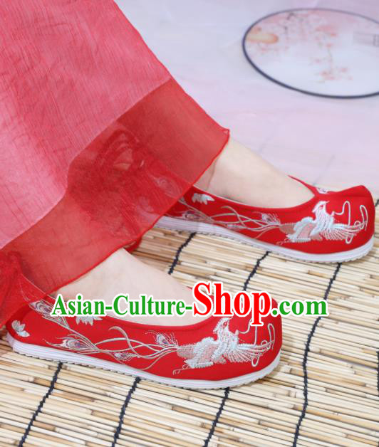 Traditional Chinese National Embroidered Phoenix Red Shoes Ancient Princess Shoes Handmade Hanfu Shoes for Women