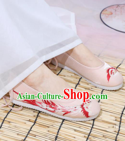 Traditional Chinese National Embroidered Phoenix Pink Shoes Ancient Princess Shoes Handmade Hanfu Shoes for Women