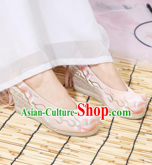 Traditional Chinese National Embroidered Peony High Heels Pink Shoes Ancient Princess Shoes Handmade Hanfu Shoes for Women