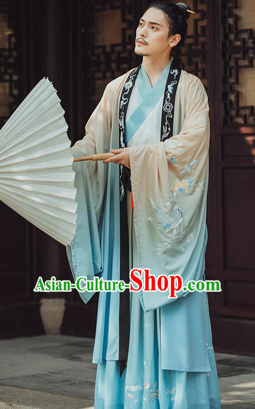 Traditional Chinese Jin Dynasty Gentleman Hanfu Cloak Ancient Royal Prince Historical Costumes for Men