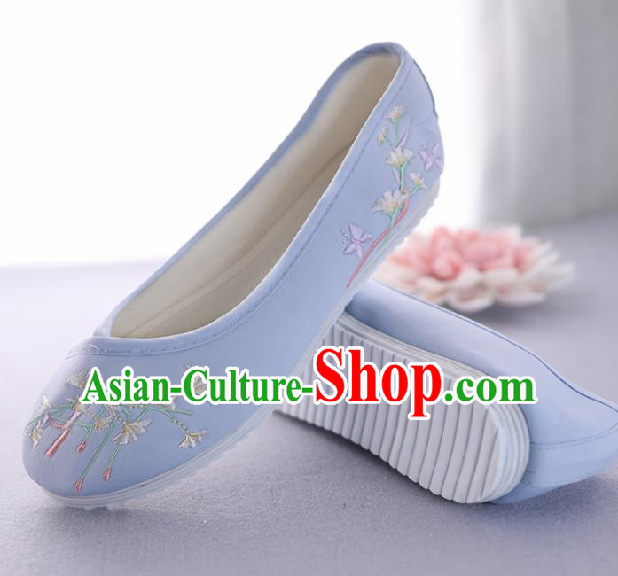 Traditional Chinese Ancient Princess Blue Embroidered Shoes Cloth Shoes Handmade Hanfu Shoes for Women