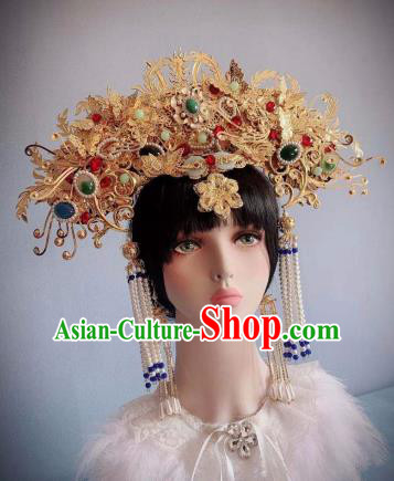 Traditional Chinese Deluxe Golden Phoenix Coronet Hair Accessories Halloween Stage Show Headdress for Women