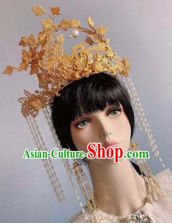 Traditional Chinese Deluxe Golden Leaf Phoenix Coronet Hair Accessories Halloween Stage Show Headdress for Women