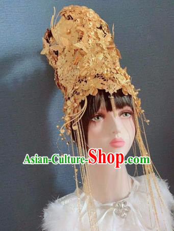 Traditional Chinese Deluxe Golden Butterfly Phoenix Coronet Hair Accessories Halloween Stage Show Headdress for Women