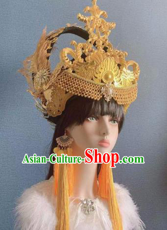 Traditional Chinese Deluxe Golden Feather Phoenix Coronet Hair Accessories Halloween Stage Show Headdress for Women