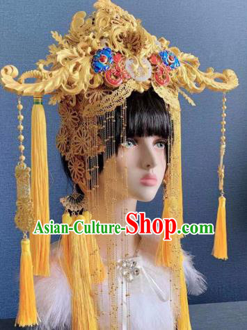Traditional Chinese Golden Deluxe Phoenix Coronet Hair Accessories Halloween Stage Show Headdress for Women