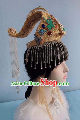 Traditional Chinese Golden Deluxe Tassel Phoenix Coronet Hair Accessories Halloween Stage Show Headdress for Women