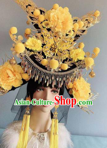 Traditional Chinese Deluxe Yellow Peony Phoenix Coronet Hair Accessories Halloween Stage Show Headdress for Women