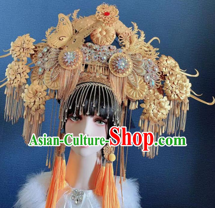 Traditional Chinese Deluxe Golden Butterfly Tassel Phoenix Coronet Hair Accessories Halloween Stage Show Headdress for Women