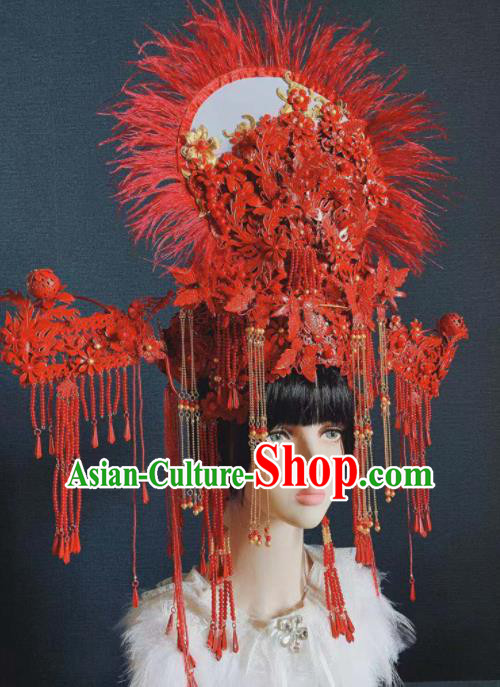 Traditional Chinese Deluxe Red Tassel Hat Phoenix Coronet Hair Accessories Halloween Stage Show Headdress for Women