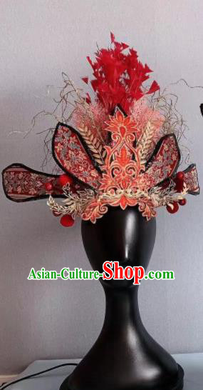 Traditional Chinese Deluxe Red Phoenix Coronet Hair Accessories Halloween Stage Show Headdress for Women