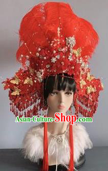 Traditional Chinese Deluxe Red Feather Phoenix Coronet Hair Accessories Halloween Stage Show Headdress for Women