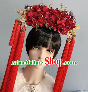 Traditional Chinese Deluxe Red Flowers Phoenix Coronet Hair Accessories Halloween Stage Show Headdress for Women