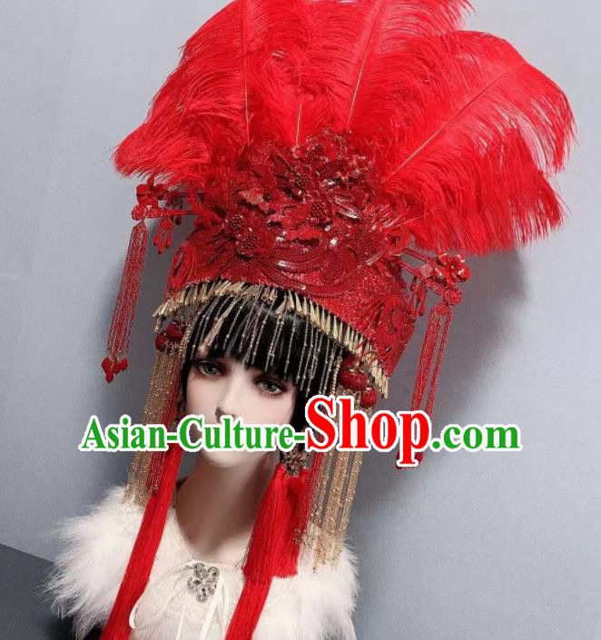 Traditional Chinese Deluxe Red Feather Tassel Phoenix Coronet Hair Accessories Halloween Stage Show Headdress for Women