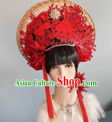 Traditional Chinese Deluxe Red Hat Phoenix Coronet Hair Accessories Halloween Stage Show Headdress for Women