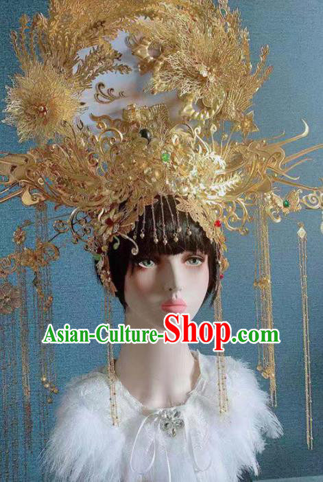 Traditional Chinese Deluxe Golden Palace Phoenix Coronet Hair Accessories Halloween Stage Show Headdress for Women