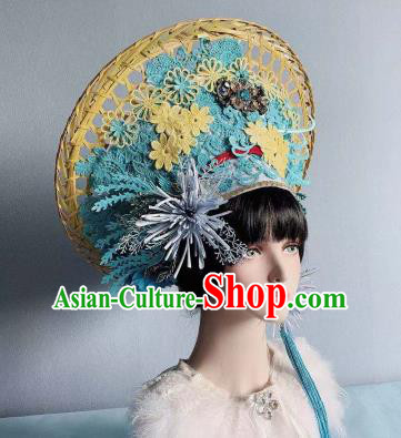 Traditional Chinese Deluxe Blue Hat Phoenix Coronet Hair Accessories Halloween Stage Show Headdress for Women