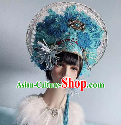 Traditional Chinese Deluxe Hat Blue Phoenix Coronet Hair Accessories Halloween Stage Show Headdress for Women