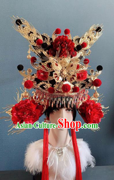 Traditional Chinese Deluxe Palace Red Peony Phoenix Coronet Hair Accessories Halloween Stage Show Headdress for Women