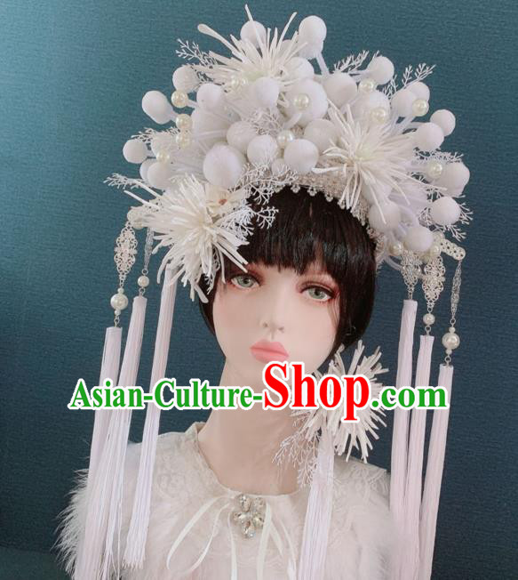 Traditional Chinese Deluxe Palace White Venonat Phoenix Coronet Hair Accessories Halloween Stage Show Headdress for Women