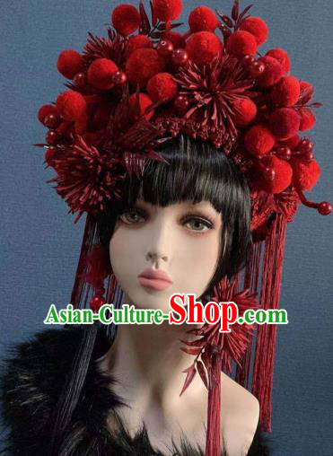 Traditional Chinese Deluxe Palace Red Venonat Phoenix Coronet Hair Accessories Halloween Stage Show Headdress for Women