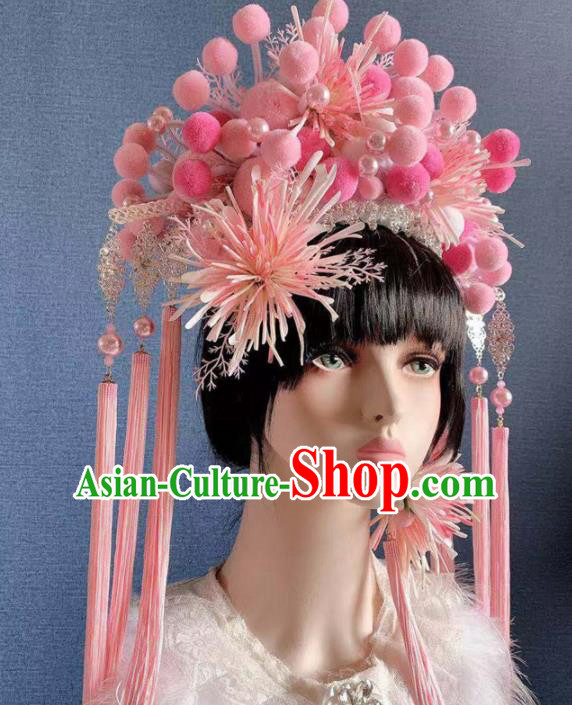 Traditional Chinese Deluxe Palace Pink Venonat Phoenix Coronet Hair Accessories Halloween Stage Show Headdress for Women