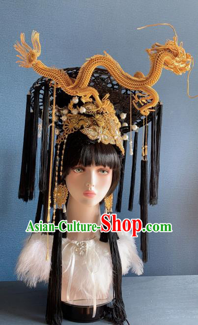 Traditional Chinese Deluxe Palace Golden Dragon Phoenix Coronet Hair Accessories Halloween Stage Show Headdress for Women