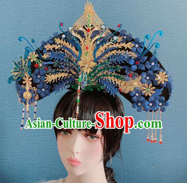 Traditional Chinese Deluxe Qing Dynasty Blue Phoenix Coronet Hair Accessories Halloween Stage Show Headdress for Women