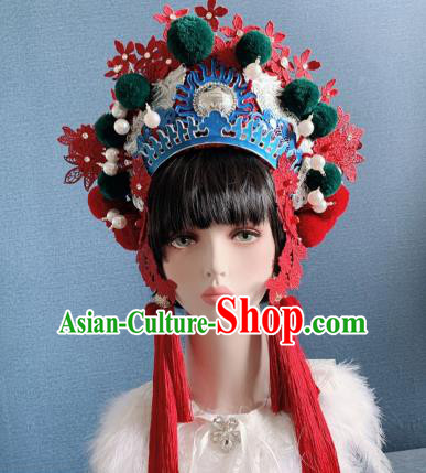 Traditional Chinese Deluxe Red Lace Phoenix Coronet Hair Accessories Halloween Stage Show Headdress for Women