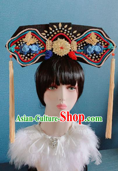 Traditional Chinese Deluxe Qing Dynasty Phoenix Coronet Hair Accessories Halloween Stage Show Headdress for Women